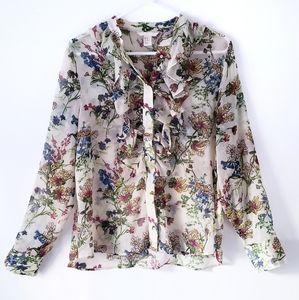 H&M | Floral Button Down Ruffle Neck Blouse
